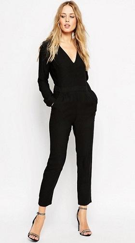 V-neck Regular Black Jumpsuit