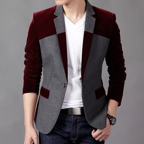 Velvet Slim Fit Corduroy Blazer Jacket