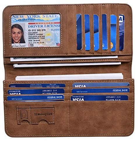 Vintage Look Genuine Leather Long Bifold Wallet