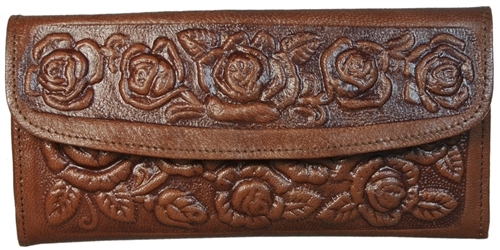 Vintage Tooled Leather Wallet for Women