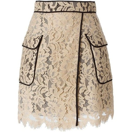 White Lace Mid-length Skirt with Black seam