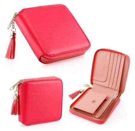 Women's Dark Pink Leather Coin Mini Wallet