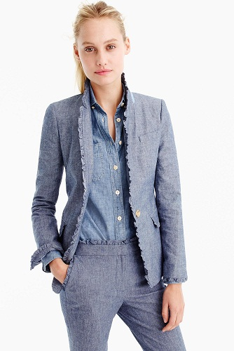 Women Ruffled Border Blazer Jacket Suit