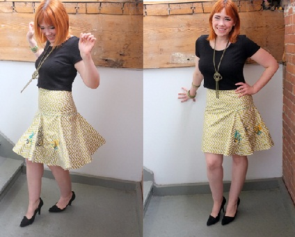Yellow Godet skirts