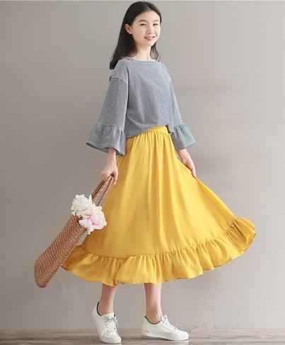 Yellow flounce Skirts