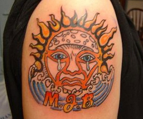 3D tribal sun tattoo on Shoulder