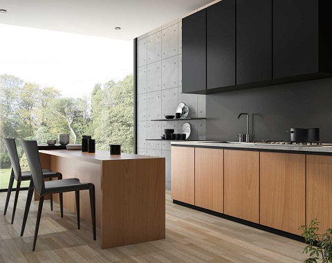 A Kitchen in Black and Wood