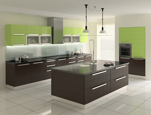 A Modern Kitchen in Brown and Green