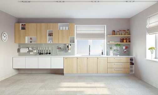 A Spacious Kitchen with Huge Wall