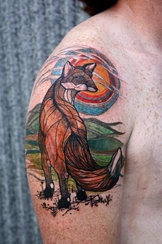 Abstract Fox Tattoo Design