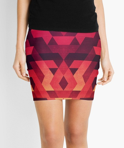 Abstract Red Mini Skirts Designs