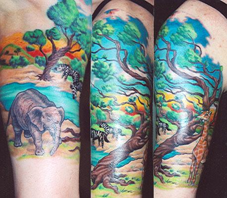 Amazing Colorful African Tattoo on Sleeve