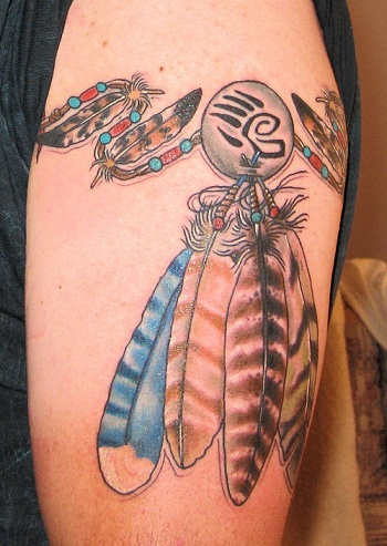 American Tribal feather armband tattoo