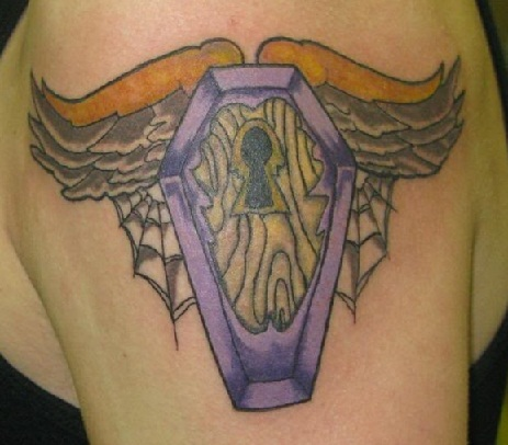Angle coffin tattoo
