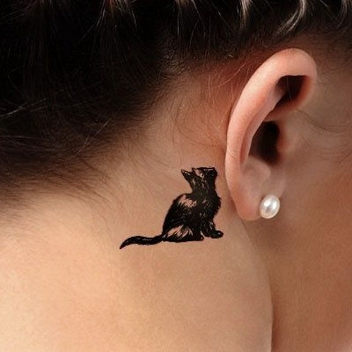 Top 15 Cute and Tiny Ear Tattoos With Images - Behind The Ear Cat Design Tattoo