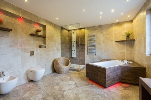 Beige and Spacious Luxury Bathroom Designs