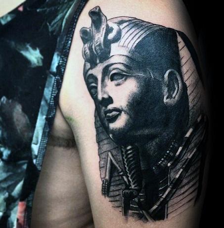 Black & Gray King Tut tattoo design