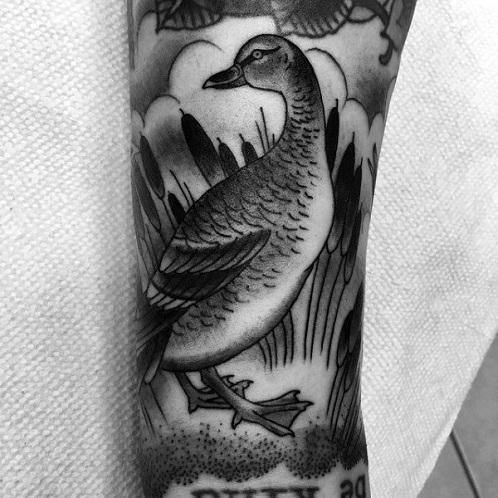 Black and White Duck Tattoo