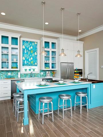 Blue Beach Theme Kitchen Design