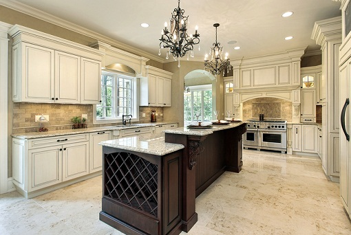 Brown and white luxury kitchen