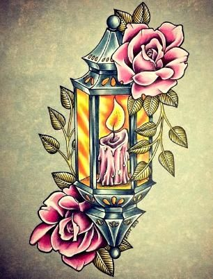 Candle Tattoo Designs with Flower