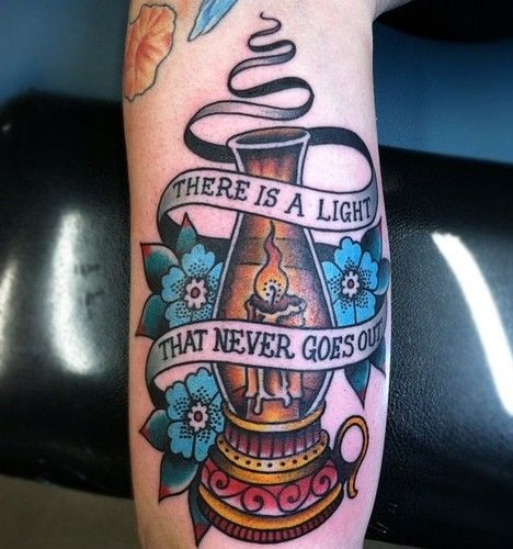 Candle Tattoo with Quotation