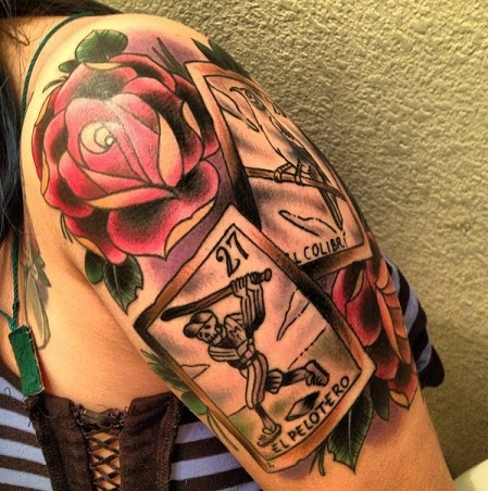 Card tattoo with colored rose tattoo design