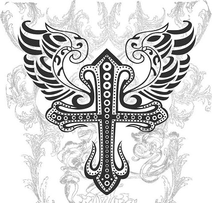 Celtic Tribal Cross Tattoo design with Wings