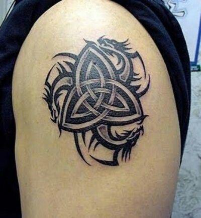 Celtic dragon tribal tattoo