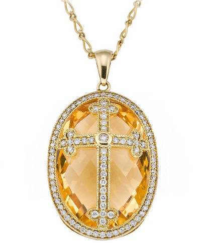 Citrine Cross Locket
