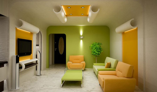 Combined orange with green color Living Room Décor
