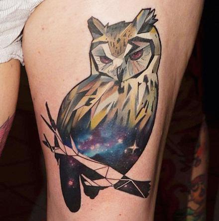Cosmic Galactic Owl Tattoo