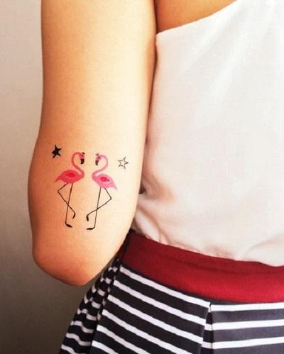 Lovable Flamingo Tattoo Design