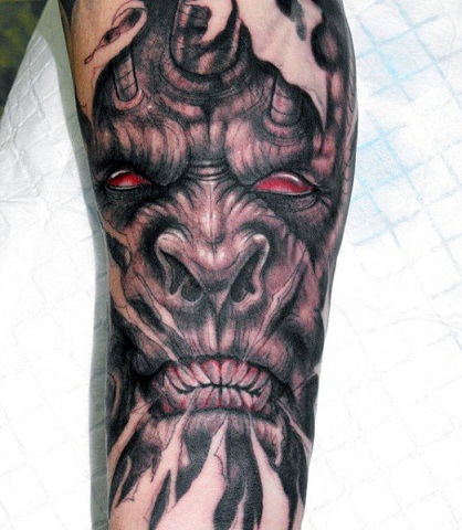 top 9 scary demon tattoo designs for men styles at life. Black Bedroom Furniture Sets. Home Design Ideas