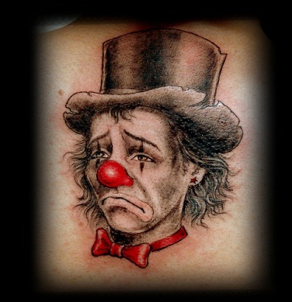 Crying face Clown tattoo design