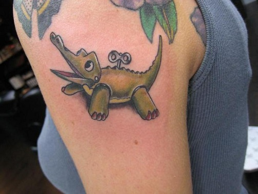 Cute Alligator Tattoo Design