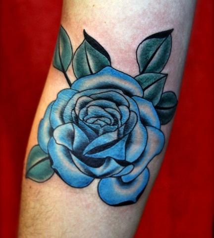 Dark blue style Tribal Rose Tattoo