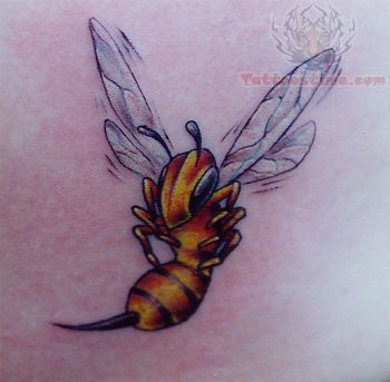 Dazzling Soaring High Bee Tattoo Design