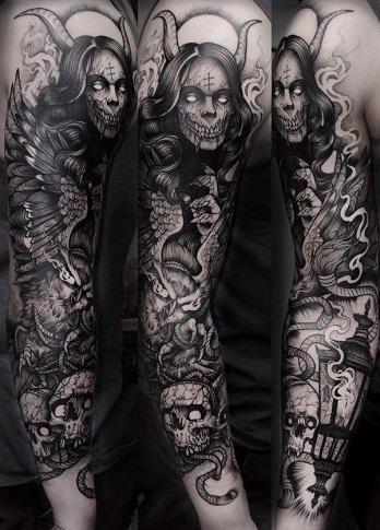 Demon tattoo sleeve
