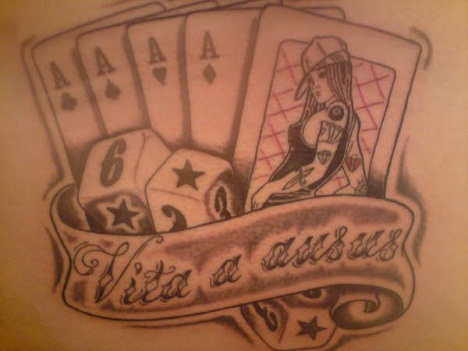 Dice with cards tattoos design