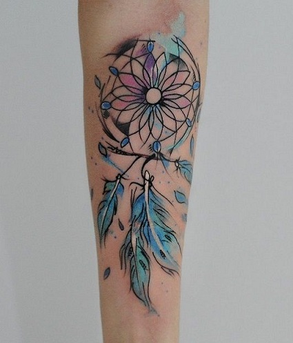 Dream Catcher Unique Blue Tattoo