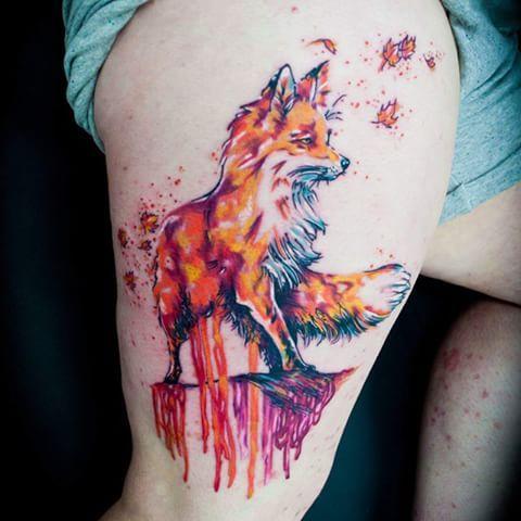 Dripping Water colour Fox Tattoos