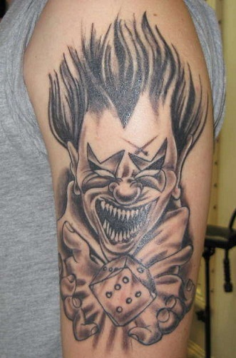Evil clown tattoo design