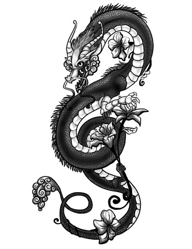 Fabulous Dragon Gothic Tattoo Design