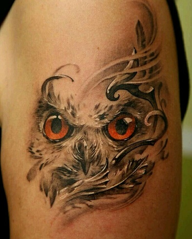 Fancy Owl Style Brown Tattoo