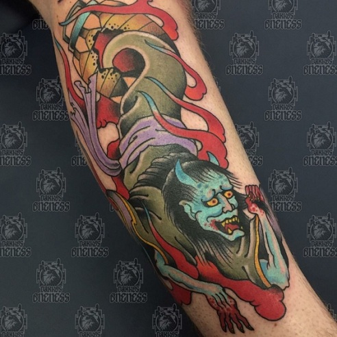 Fiery Japanese Ghost Tattoo Design