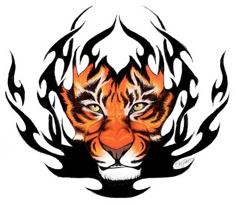 Fire Tiger Tribal Arm Tattoo