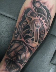 Futuristic Biomechanical Tattoo Design