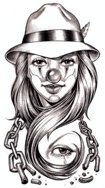Girl Clown tattoo design