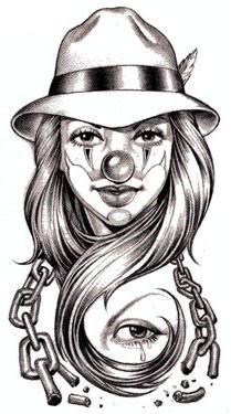Girl Clown tattoo design